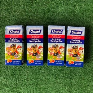 Lot of 4 Orajel Flouride Free Paw Patrol Training Toothpaste - Fruity Flavor